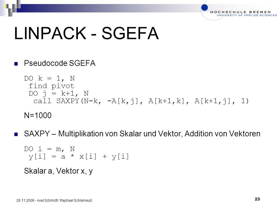 LINPACK - SGEFA Pseudocode SGEFA DO k = 1, N find pivot DO j = k+1, N call SAXPY(N-k, -A[k,j], A[k+1,k], A[k+1,j], 1) N=1000.